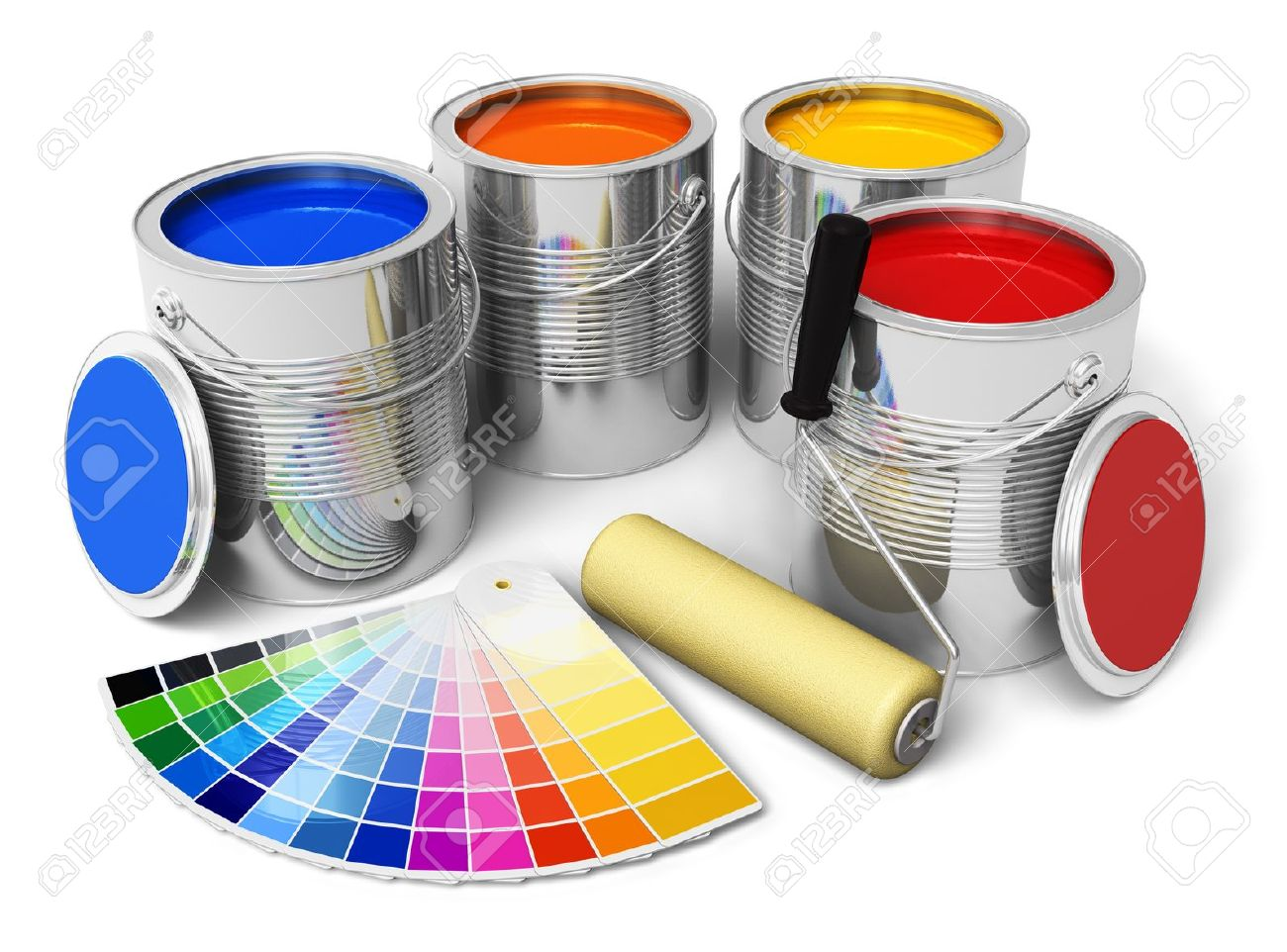 14765888 cans with color paint roller brush and color guide isolated on white background